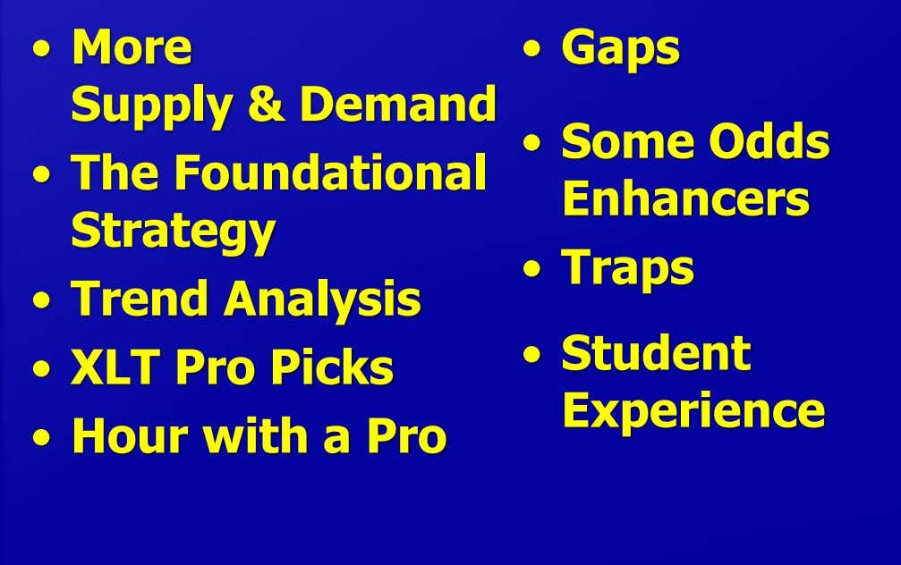 • More • Gaps Supply & Demand • The Foundational • Some Odds Enhancers Strategy