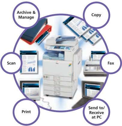 Archive & Copy Manage Scan Fax Send to/ Print Receive at PC