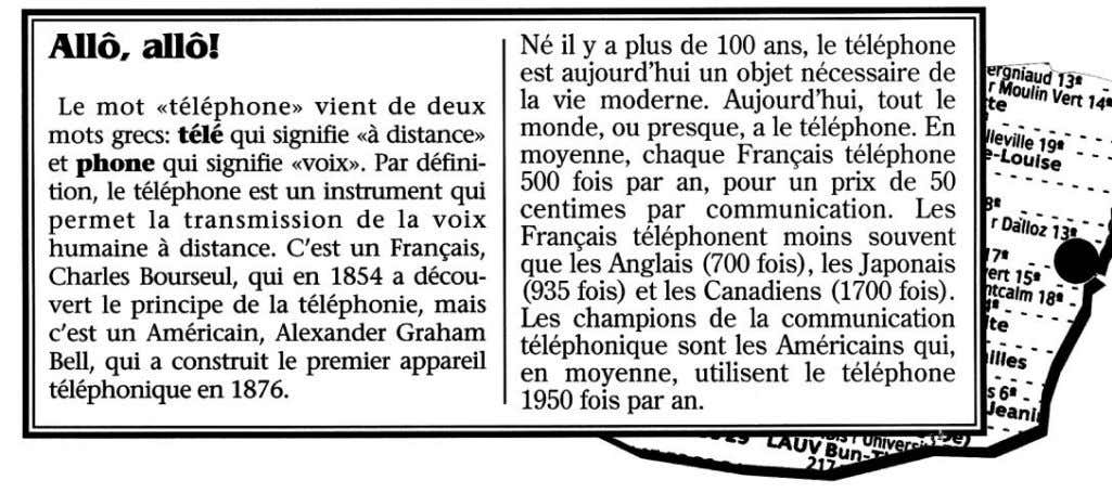 statements. Place a check in the corresponding box. 1. Dans le premier paragraphe, l'invention du téléphone