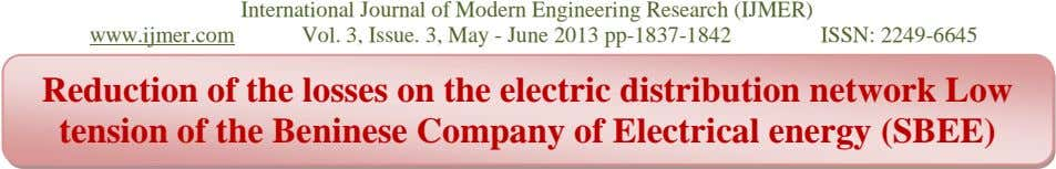 www.ijmer.com International Journal of Modern Engineering Research (IJMER) Vol. 3, Issue. 3, May - June