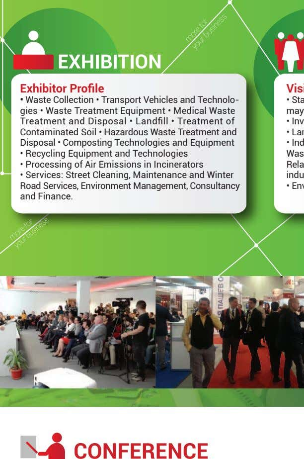Exhibitor Profile Waste Collection • Transport Vehicles and Technolo- gies • Waste Treatment Equipment •