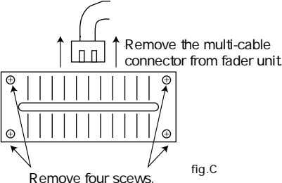 Remove the multi-cable マルチケーブル� connector from fader unit. コネクターを抜く�