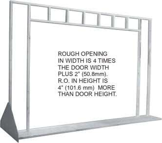 "ROUGH OPENING IN WIDTH IS 4 TIMES THE DOOR WIDTH PLUS 2"" (50.8mm). R.O. IN"