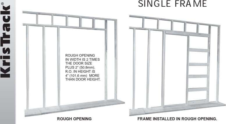 "SINGLE FRAME ROUGH OPENING IN WIDTH IS 2 TIMES THE DOOR SIZE PLUS 2"" (50.8mm)."