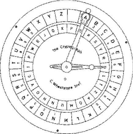 at the outer wheel. This is similar to the Caesar cipher. The encryption will generate a