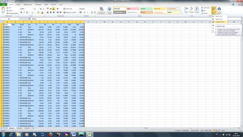 133. The copied efforts in Excel … 134. You may sort the efforts as you wish.