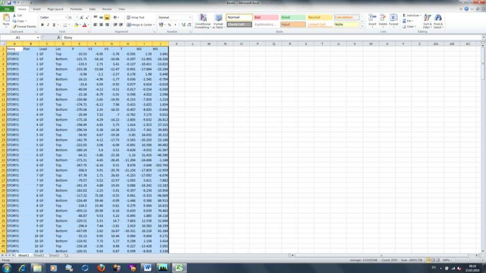 135. In Excel you have the efforts table, selected in the desired order. Further strength