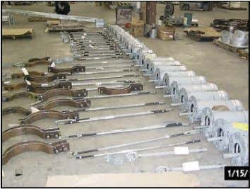 HANGERS READY FOR QUALITY CONTROL INSPECTION ANDSHIPMENT 15 SPRING CANS WITH YOKE U-BOLTS (FIG 43) PP