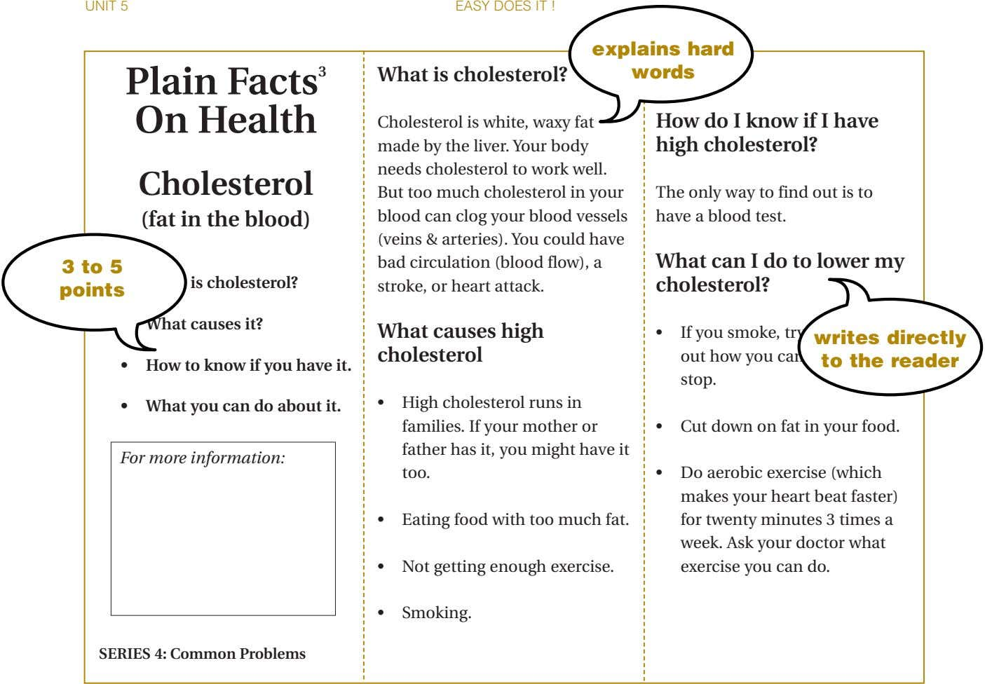 UNIT 5 EASY DOES IT ! explains hard words Plain Facts 3 On Health What is