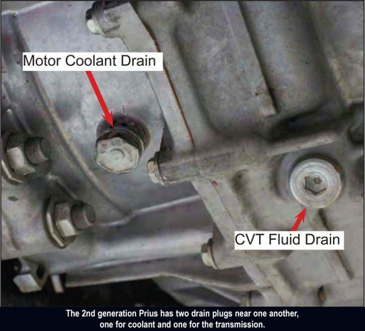 The 2nd generation Prius has two drain plugs near one another, one for coolant and