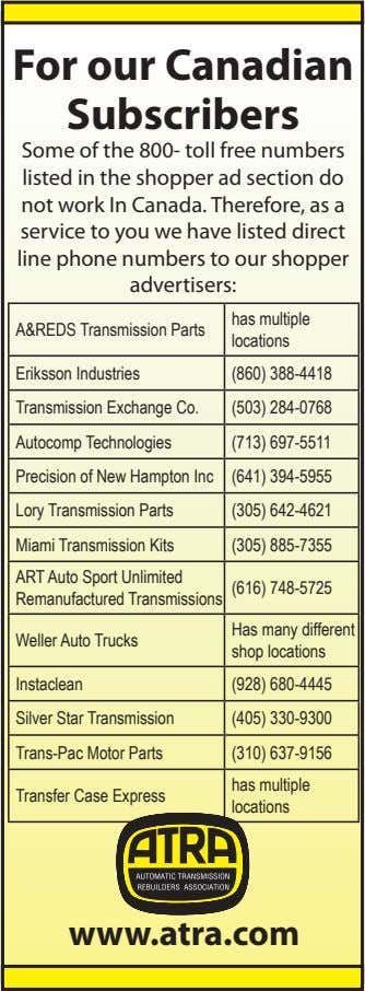 For our Canadian Subscribers Some of the 800- toll free numbers listed in the shopper