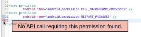 Android Documentation examples of calling out required Fig. 3. Eclipse plugin Highlighting Extraneous Permission