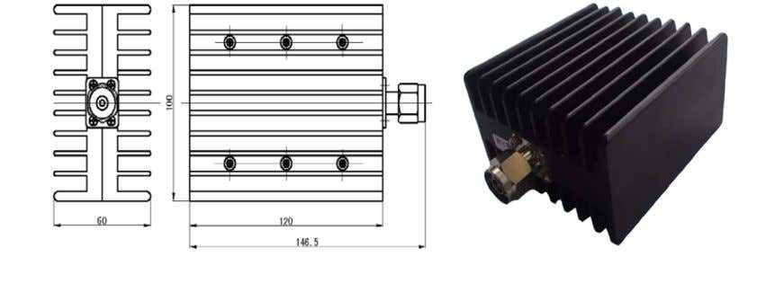 Finish Black Plated Drawing & Product Image: Ordering Details: S45055-Z61-A968-LA-CR Dummy Load 100W,