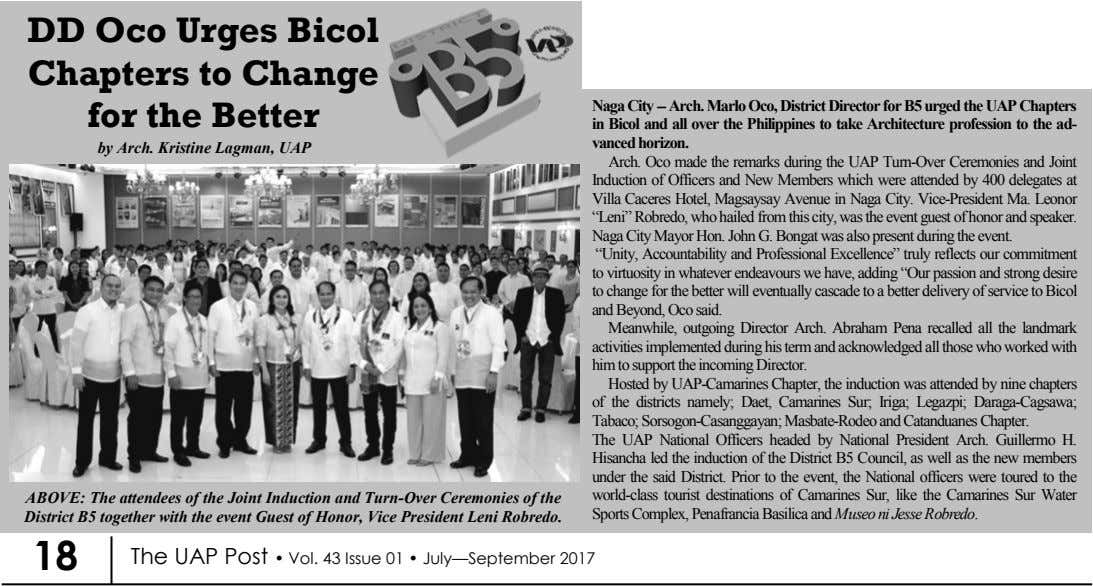 DD Oco Urges Bicol Chapters to Change for the Better by Arch. Kristine Lagman, UAP