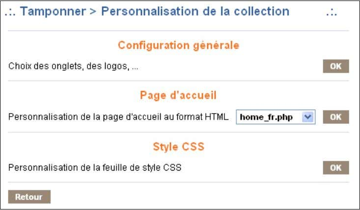 12.5. Personnalisation de l'interface web de la collection Paramétrage de l'interface d'une collection La