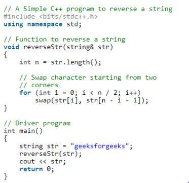 COMPARISON IN CPP AND PYTHON CODE (PROGRAM TO REVERSE A STRING) PYTHON CPP