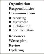 Organization Responsibilities Communication ● reporting ● assessment ● mobilization ● documentation