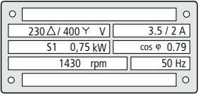 230 / 400 V 3.5 / 2 A S1 0,75 kW cos ϕ 0.79 1430