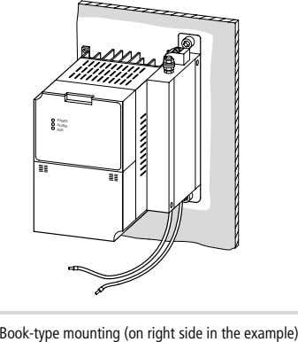 POWER ALARM RUN Book-type mounting (on right side in the example)