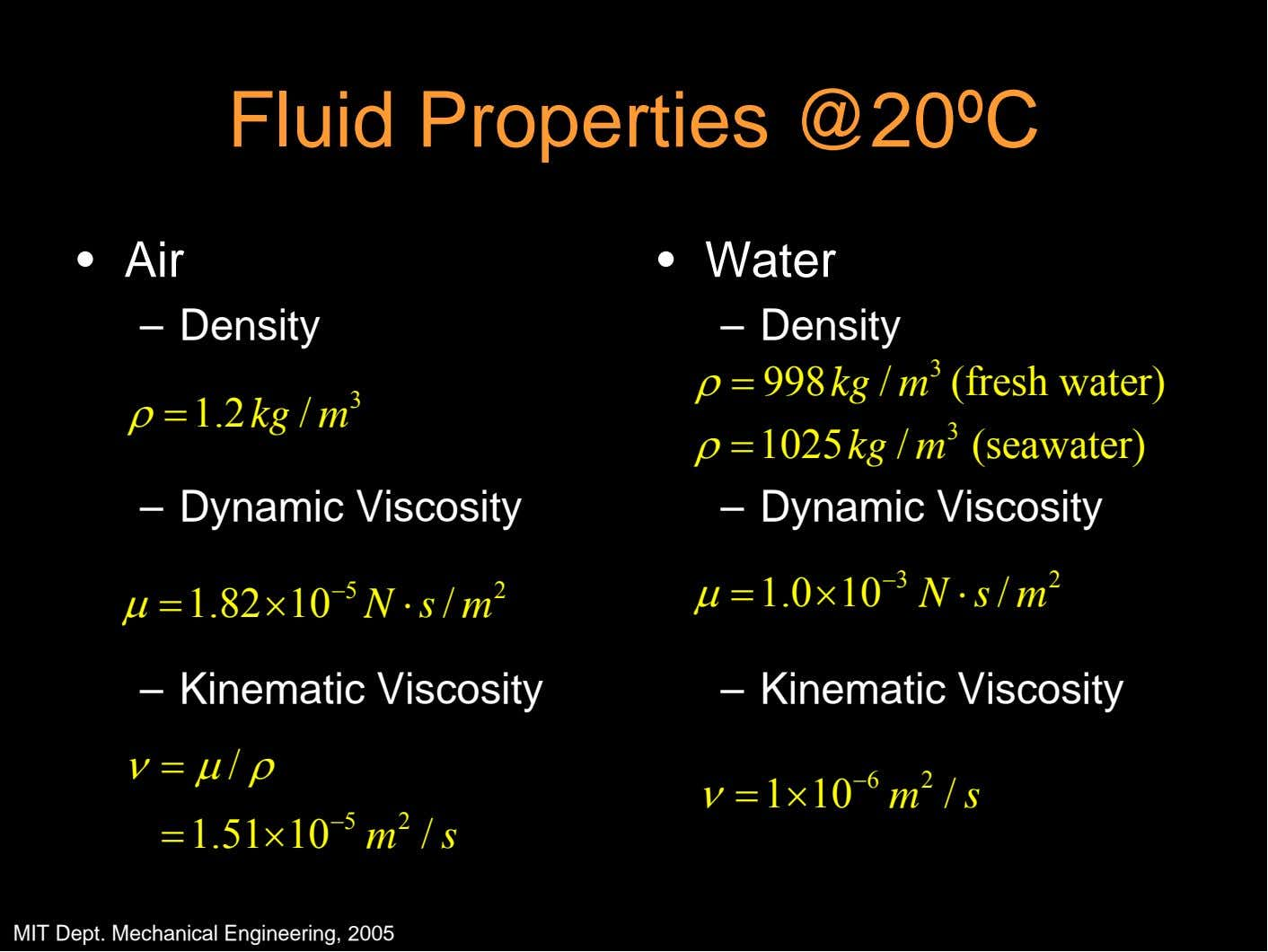 Fluid Properties @20ºC • Air • Water – Density – Density 3 ρ= 998 kg