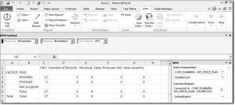 the output in the EPM add-in after running the query (see Figure 10.51). Figure 10.51 EPM