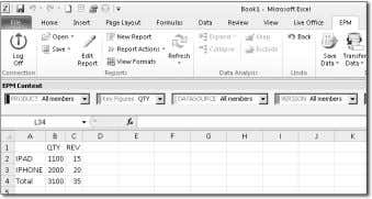 Planning-Enabled Query for the Local Provider Scenario Figure 10.62 EPM Excel Add-In for a Local Provider