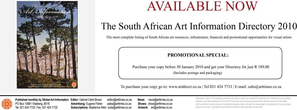 The South African R 189, 00 AVAILABLE NOW Art Information Directory 2010 The South African