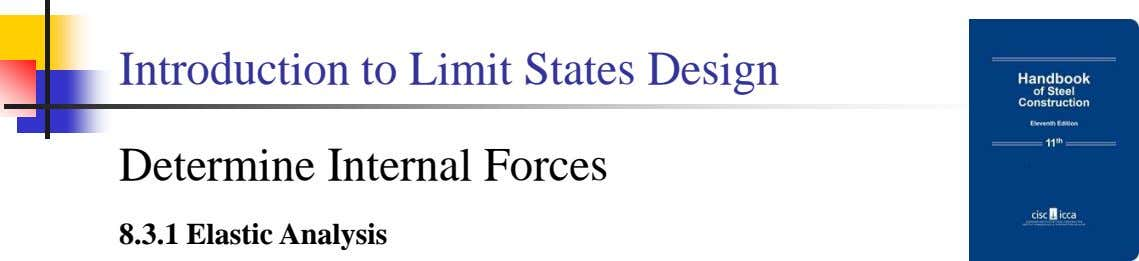 Introduction to Limit States Design Determine Internal Forces 8.3.1 Elastic Analysis