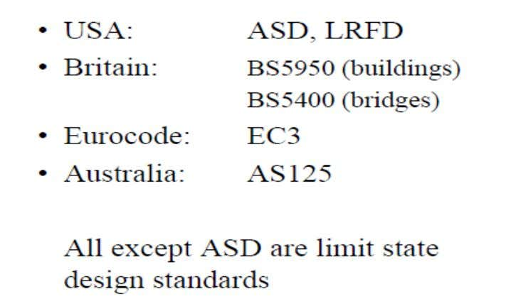 Introduction to Limit States Design Other Structural Steel Standards 28