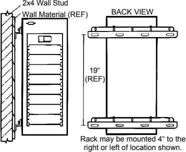 "2x4 Wall Stud BACK VIEW Wall Material (REF) 19"" (REF) Rack may be mounted 4"""