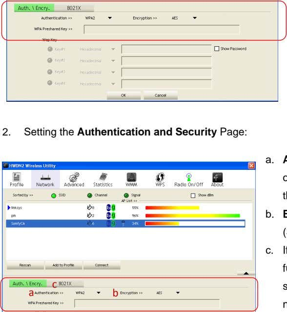 2. Setting the Authentication and Security Page: a. b. c. c a b