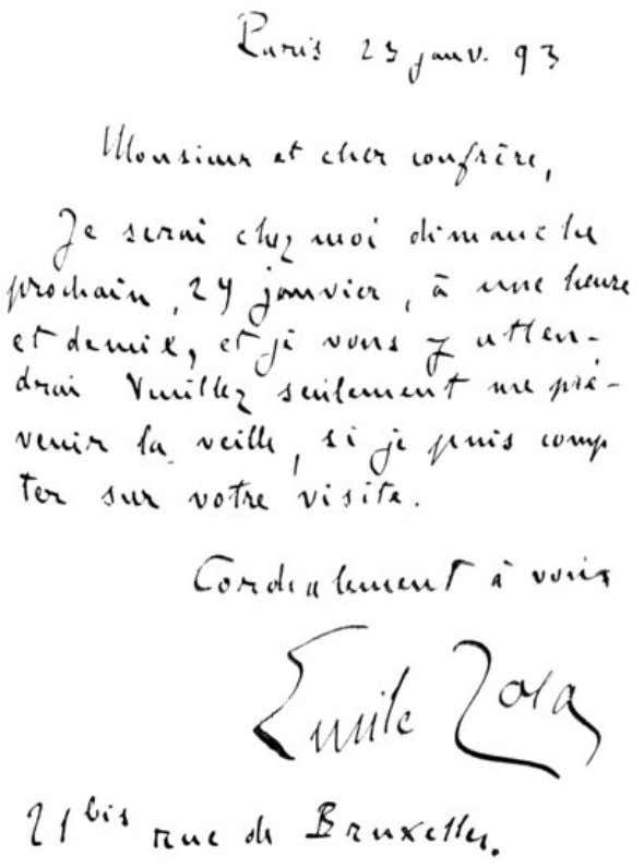 of The Idler Magazine, An Illustrated Monthly, June 1893. (facsimile of m. zola's handwriting.)