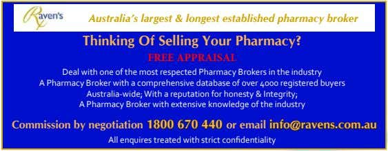 Australia's largest & longest established pharmacy broker Thinking Of Selling Your Pharmacy? FREE APPRAISAL Deal
