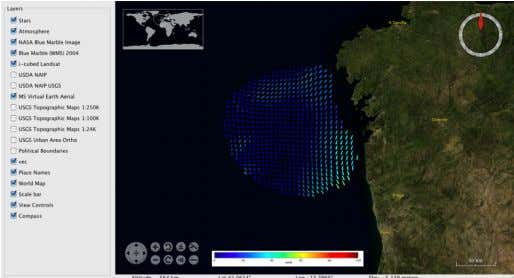 Figure7: Example of third party GIS client (NASA World Wind GIS) showing a surface currents