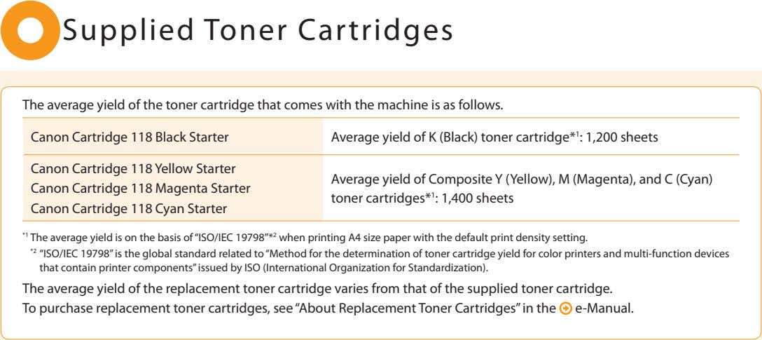 Supplied Toner Cartridges The average yield of the toner cartridge that comes with the machine