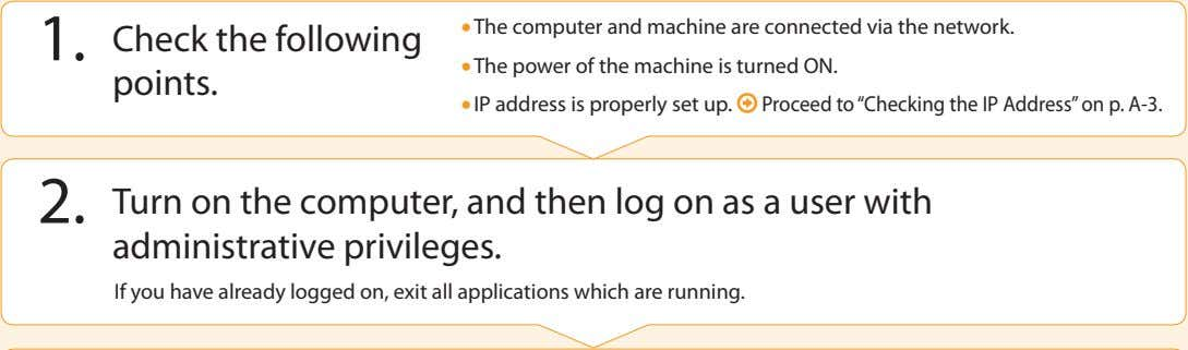 • The computer and machine are connected via the network. 1. Check the following points.