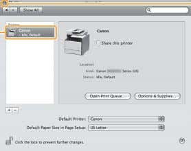 to the [Print & Fax] or [Print & Scan] dialog box. Click. If the following screen