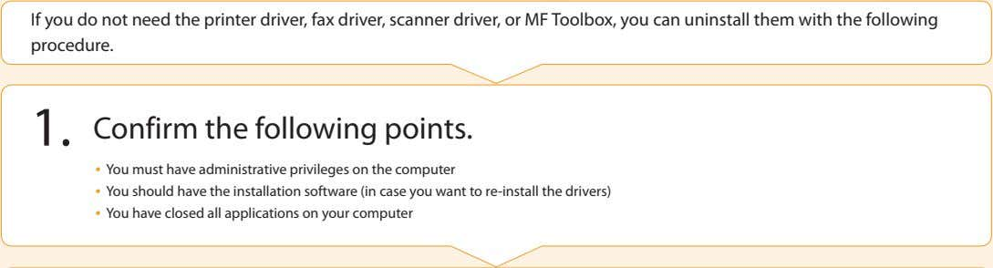 If you do not need the printer driver, fax driver, scanner driver, or MF Toolbox,