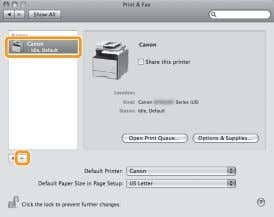 to display the [Print] panel, and then click the [—] icon. Delete all print queues set