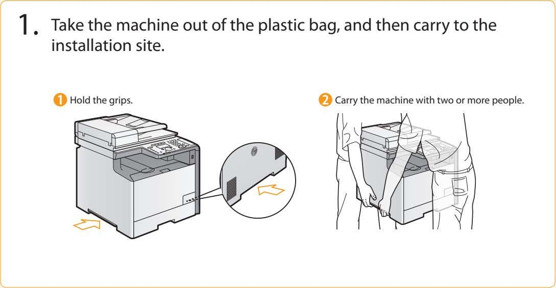 1. Take the machine out of the plastic bag, and then carry to the installation