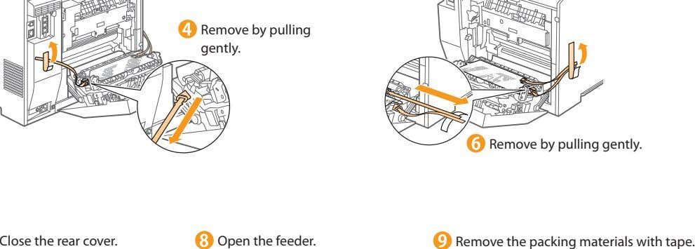Remove by pulling gently. Remove by pulling gently. Close the rear cover. Open the feeder.