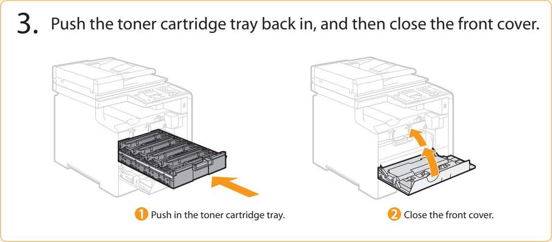 3. Push the toner cartridge tray back in, and then close the front cover. Push