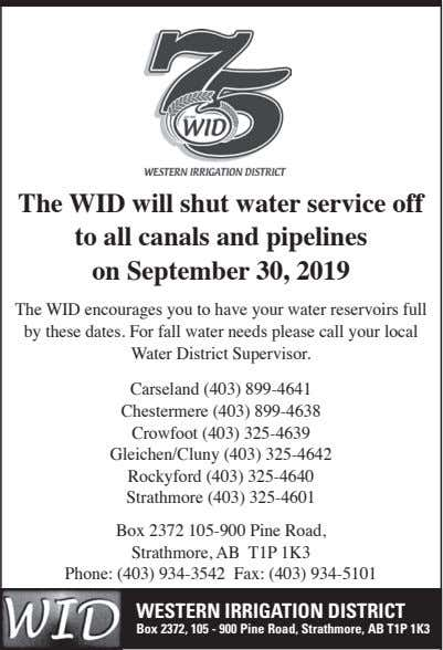 The WID will shut water service off to all canals and pipelines on September 30,