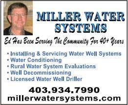 Tarps • Equipment and Vehicle Fronts WATER SYSTEMS WATER WELL DRILLING For All Your Water Needs