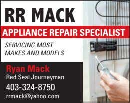 RR MACK APPLIANCE REPAIR SPECIALIST SERVICING MOST MAKES AND MODELS Ryan Mack Red Seal Journeyman