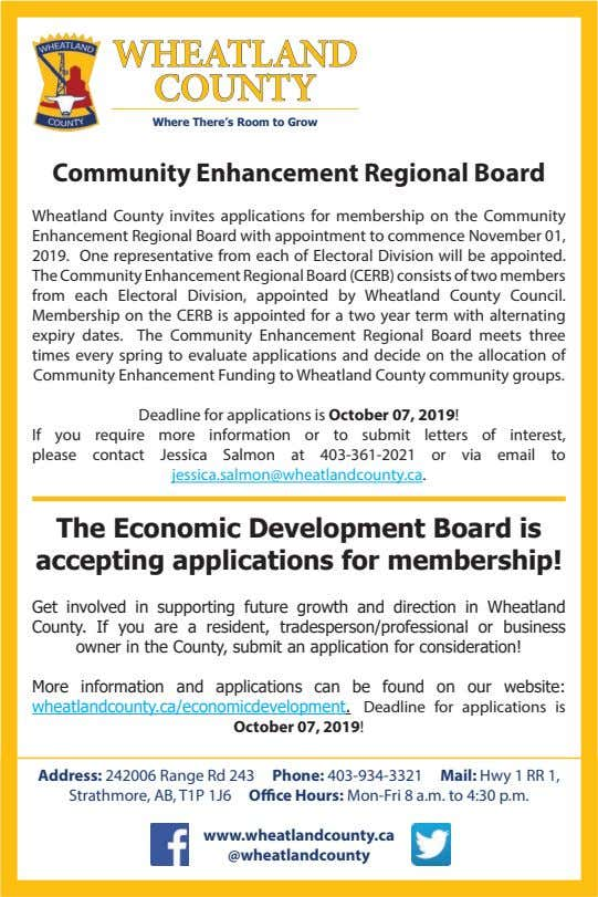 WHEATLAND COUNTY Where There's Room to Grow Community Enhancement Regional Board Wheatland County invites