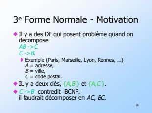 3 e Forme Normale - Motivation ! Il décompose y a des DF qui posent