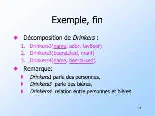 Exemple, fin ! Décomposition de Drinkers : 1. Drinkers1(name, addr, favBeer) 2. 3. Drinkers4(name,