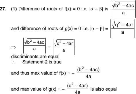 2 b ñ 4ac 27. (1) Difference of roots of f(x) = 0 i.e. |ñ|
