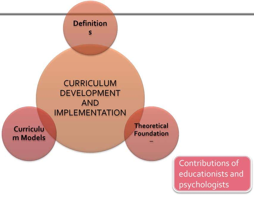 Definition s CURRICULUM DEVELOPMENT AND IMPLEMENTATION Theoretical Curriculu Foundation m Models – Contributions of educationists and